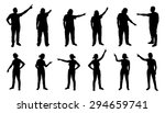 People Pointing Silhouettes On...
