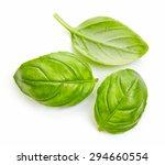 Fresh Basil Leaves Isolated On...