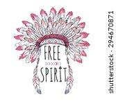 native american poster  t shirt ... | Shutterstock .eps vector #294670871