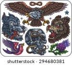 hand drawn set of old school...   Shutterstock .eps vector #294680381