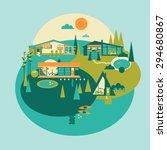 resort island vector set. eco... | Shutterstock .eps vector #294680867