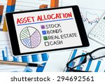Small photo of asset allocation concept graph on tablet pc