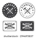 set of vintage mechanic labels  ... | Shutterstock . vector #294695837