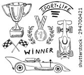 Sport Auto Items Doodles...