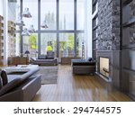 loft apartment interior design... | Shutterstock . vector #294744575