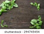 green fresh basil on wooden... | Shutterstock . vector #294745454