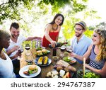 friends outdoors party... | Shutterstock . vector #294767387