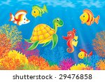coral fishes  turtle and... | Shutterstock . vector #29476858