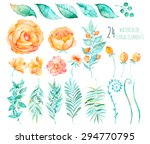 colorful floral collection with ... | Shutterstock .eps vector #294770795