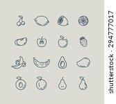 set line icons fruit. banana ... | Shutterstock .eps vector #294777017
