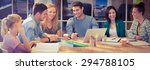 group of young colleagues using ... | Shutterstock . vector #294788105