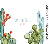 Watercolor Vector Frame Cactus...