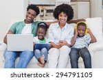 happy family using technologies ... | Shutterstock . vector #294791105