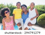 happy family smiling at camera...   Shutterstock . vector #294791279