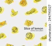 slice of lemon  seamless vector ... | Shutterstock .eps vector #294795527