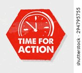 time for action with clock... | Shutterstock .eps vector #294795755