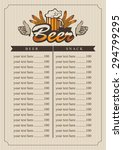 pub menu with a glass of beer... | Shutterstock .eps vector #294799295