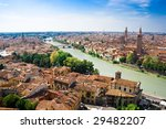 Verona panoramic view from the high hill, Italy - stock photo