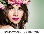 beautiful girl with flowers.... | Shutterstock . vector #294822989