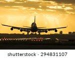 huge boeing 747 is landing on... | Shutterstock . vector #294831107