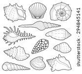 Sea Shells Vector Icon Set...