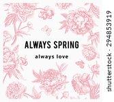 vintage vector floral card.... | Shutterstock .eps vector #294853919