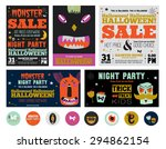 set trick or treat poster cards ... | Shutterstock .eps vector #294862154