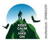 hiking concept  man standing on ... | Shutterstock .eps vector #294863195