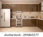 Stock photo  d illustration of modern style kitchen interior 294865277