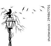 birds in street wall decal... | Shutterstock .eps vector #294867701