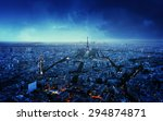 Paris Skyline At Sunset  France