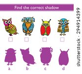 find the correct shadow  owl ....   Shutterstock .eps vector #294914399