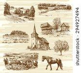 rural landscape and houses  ...   Shutterstock .eps vector #294927494