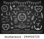 set of vintage chalk hand drawn ... | Shutterstock .eps vector #294933725