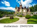 Beautiful Peles castle and ornamental garden in Sinaia landmark of Carpathian mountains in Europe