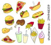 fast food set or collection.... | Shutterstock .eps vector #294948359