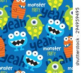 Seamless Monster Pattern Vecto...