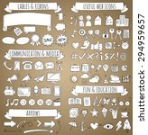 doodle icons set with white...   Shutterstock .eps vector #294959657