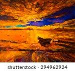 Original Oil Painting  Sunset...