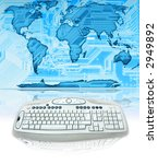digital world map with keyboard | Shutterstock . vector #2949892