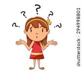 confused girl  shrugging... | Shutterstock .eps vector #294998801