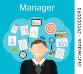 manager task illustration. flat ... | Shutterstock .eps vector #295000091