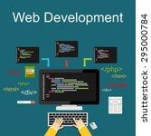 web development illustration.... | Shutterstock .eps vector #295000784