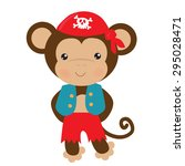 cute pirate monkey vector... | Shutterstock .eps vector #295028471