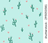 seamless cactus pattern in... | Shutterstock .eps vector #295053581