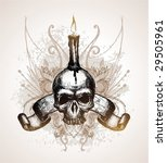 Skull  Scroll And Candle