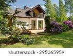 beauty garden in front of... | Shutterstock . vector #295065959