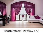 window with rose curtains in...   Shutterstock . vector #295067477