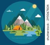 summer. morning landscape in... | Shutterstock .eps vector #295067834