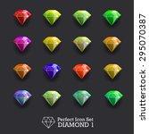 icons glowing gems  diamonds   Shutterstock .eps vector #295070387